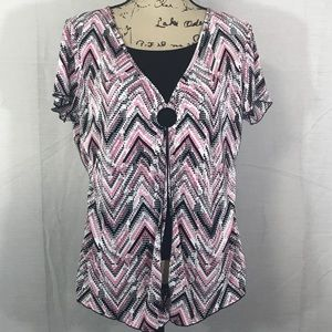 Dress Barn Black & Pink Short Sleeve Blouse
